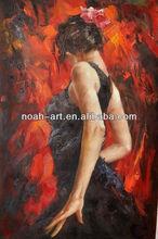 100% handmade girl dancing oil painting