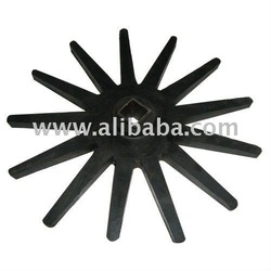 Ruber finger wheel for corn picker