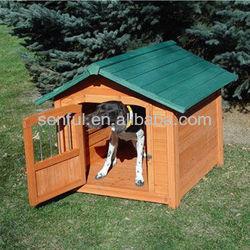 Wooden dog kennel with lockable door