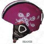 dark pink women six pieces flower ski helmet