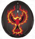 fire phoenix printed gray ski solid helmet