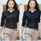 Korea Women's Long Sleeve OL Blouse/ Shirts/ Tops Black,blue S,M,L,XL 7748
