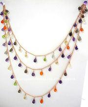 Multi Stones Facet Drops Metal Alloy Necklace Chain