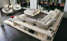 Francese divani in stile moderno design in pelle mix angolo di divano in tessuto con tavolo da tè pouf divani classici di lusso stile 9006-18