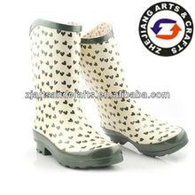 Half height white heart design rubber rain boots hong kong for women
