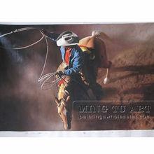 Handmade portrait western cowboy riding horse oil painting