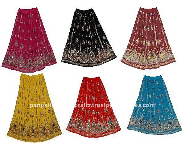 ผู้หญิงฝ้ายยาวชุดกระโปรงยิปซีbollywoodindian- ผู้หญิงเลื่อมกระโปรงโบฮีเมียน