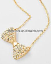Nice AB rhinestone pave bow tie Pendant Necklace