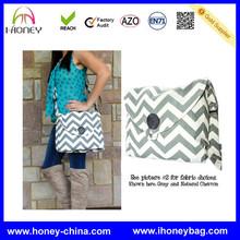 Popular Gray Latest Designer 16oz Canvas Shoulder Chevron Diaper Bags