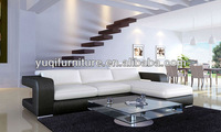 Modern Design sofa with 1st layer cattle leather L Shaped Chaise longue Leisure Modern water hyacinth corner sofa 9100-23