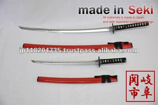 samurai swords set red sheath toys made in Seki City Japan