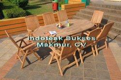 Outdoor Teak Furniture Sets, Teak Garden Extending Table and Wooden Reclinning Chairs