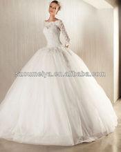 oumeiya owd194 ver a través de escote corpiño de encaje vestidos de bola con más el tamaño de manga larga de encaje de la boda vestidos de fiesta