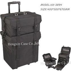 High quality nylon professional artist rolling makeup box, hard case trolley bag
