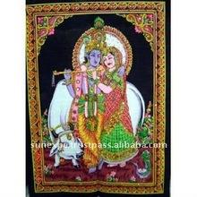 "Lord Krishna & Radha Indian Deity Sequin Batik Cotton Wall Tapestry 40"" X 30"""