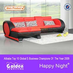 EM-ls6015# Foshan Golden Furniture red leather sofa
