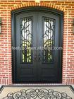 Eyebrow top wrought iron entry door