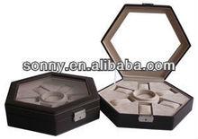 Custom high quality leather hexagon watch jewelry packaging box