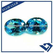 oval shape gems blue zircon for jewelry CZ113