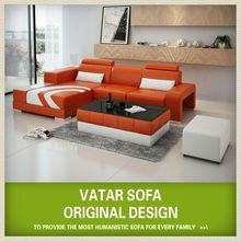 2013 V1015D european orange leather corner sofa