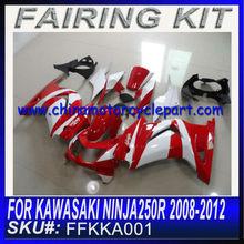 For KAWASAKI NINJA 250 R 2008-2012 kit de carenado RED&WHITE FFKKA001