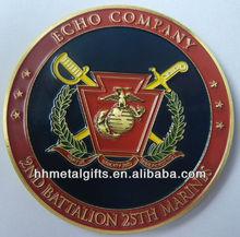 ECHO COMPANY MARINE custom 3d gold enamel metal souvenir challenge coin