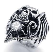 Fashion Stainless Steel Skull Biker Wings Rings