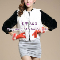 BG28122 Genuine Rabbit Fur Jacket with hood Women 2013 Fashion OEM Wholesale Retail Rabbit fur jacket