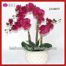 Orquídea de seda de qualidade arranjos de flor artificial com vaso