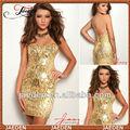 Jh0062 chérie nouvelle couleur or conception glissière au dos court Sparkly paillettes robe de retour