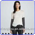 o cuello de manga larga de empalme blusas 2013 nuevos diseños