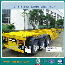 3 axle chasis trailer, skeletal container trailer, 40tons loading weight, 3 axle FUWA 13T
