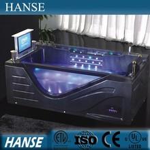 HS-B308 japan sex massage tub/ black acrylic bathtub/ jet whirlpool bathtub with tv