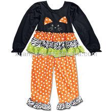 baby girls cute halloween black Cat Face peasant dress up