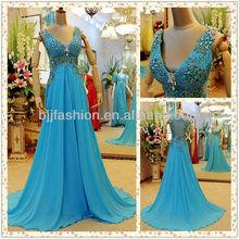 Best Seling Sleeveless V-neckline Chiffon Long Evening Dress Fashion 2012