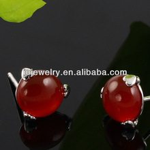 Red agate 925 sterling silver stud earrings