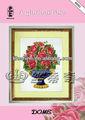 Hermosa puntos de bordado flores con tela de algodón puro e importados agujas
