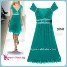 28107GR 2012 Fashion Green Sexy V-neck Lady's Mini Cocktail Dress