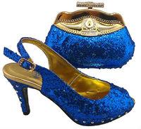 AJ009-blue Fashion Crystal Italian Women Shoes with Matching Bag