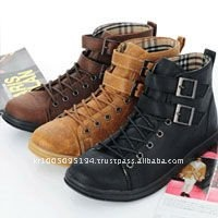 ssd0101 mans synthetic suede buckle strap hitop sneakers