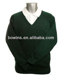 school uniform men's v neck long sleeve wool acrylic pullover sweater