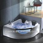 White Acrylic Two Person Corner Heart Shaped Massage Bathtub