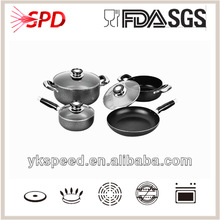 aluminum non stick flower cookware set with powder painting exterior