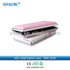 2013 Popular Smoktech Colored Ecig Ego Battery Carry Case Made of Flat Leather and Metal
