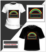 Flashing el tshirt DJ music/el sound sensor t-shirt/iran man el t-shirt