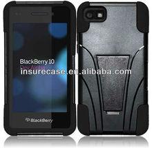 For Blackberry Z10 hybird case T-Stand Cover - Black+Black