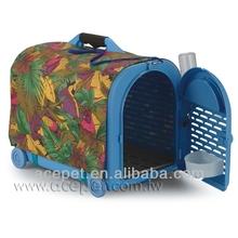 641-C Plastic with waterproof cover Pet Carrier w/ wheels & drinker