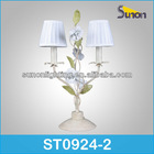 2 lights wrought iron decorative bedroom power outlet hotel table lamps in antique white