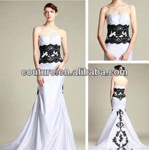 Branco e prata reais vestidos de casamento e festa vestidos de noite do espartilho TM123 lace espartilho preto e branco vestido de noiva