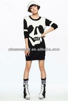 Black and white women skull pattern wool dresses